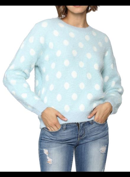 Polka Dot Fuzzy Sweater