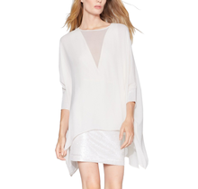 HALSTON / Long Sleeve Dress with Sequin Cuffs and Skirt