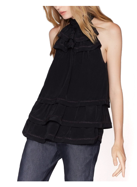 HALSTON HALSTON / Sleeveless Mock Neck Tiered Flounce Top