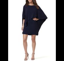 HALSTON / Flowy Sleeve Boatnck Asymmetrical Drape Dress
