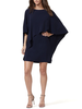 HALSTON HALSTON / Flowy Sleeve Boatnck Asymmetrical Drape Dress