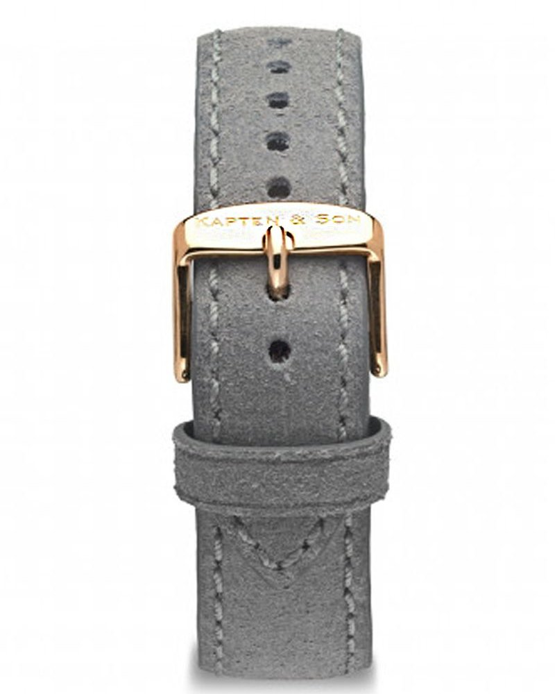 KAPTEN & SON / Campina Leather Strap  (Grey Vintage/Rose Gold, 18MM)