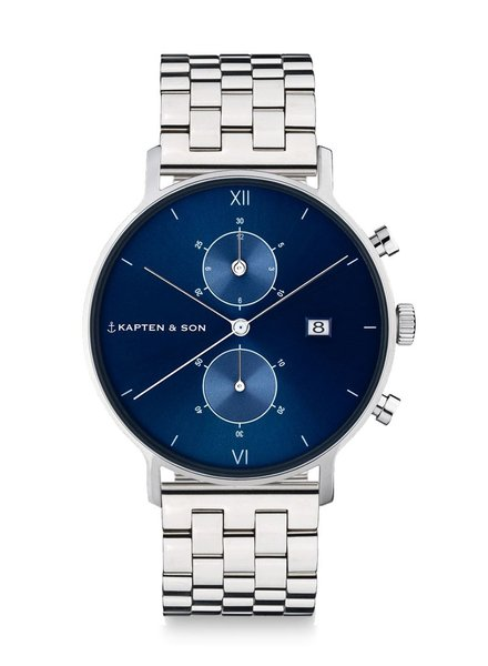 KAPTEN & SON / Chrono Silver Blue Steel (Silver/Blue, 40mm)