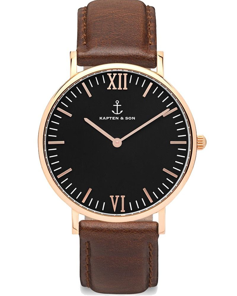 KAPTEN & SON / Campina Leather Brown Black Dial