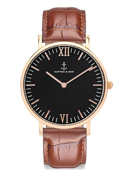 KAPTEN & SON / Campina Leather Brown Croco Black Dial