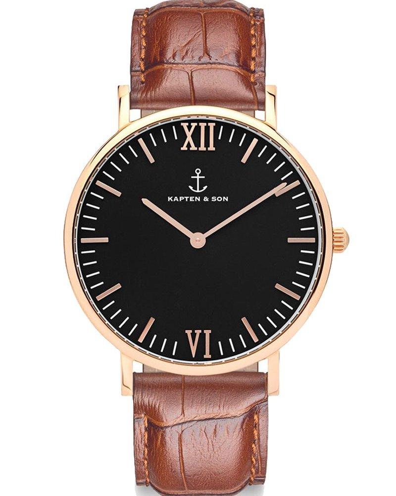 KAPTEN & SON / Campina Leather Brown Croco Black Dial