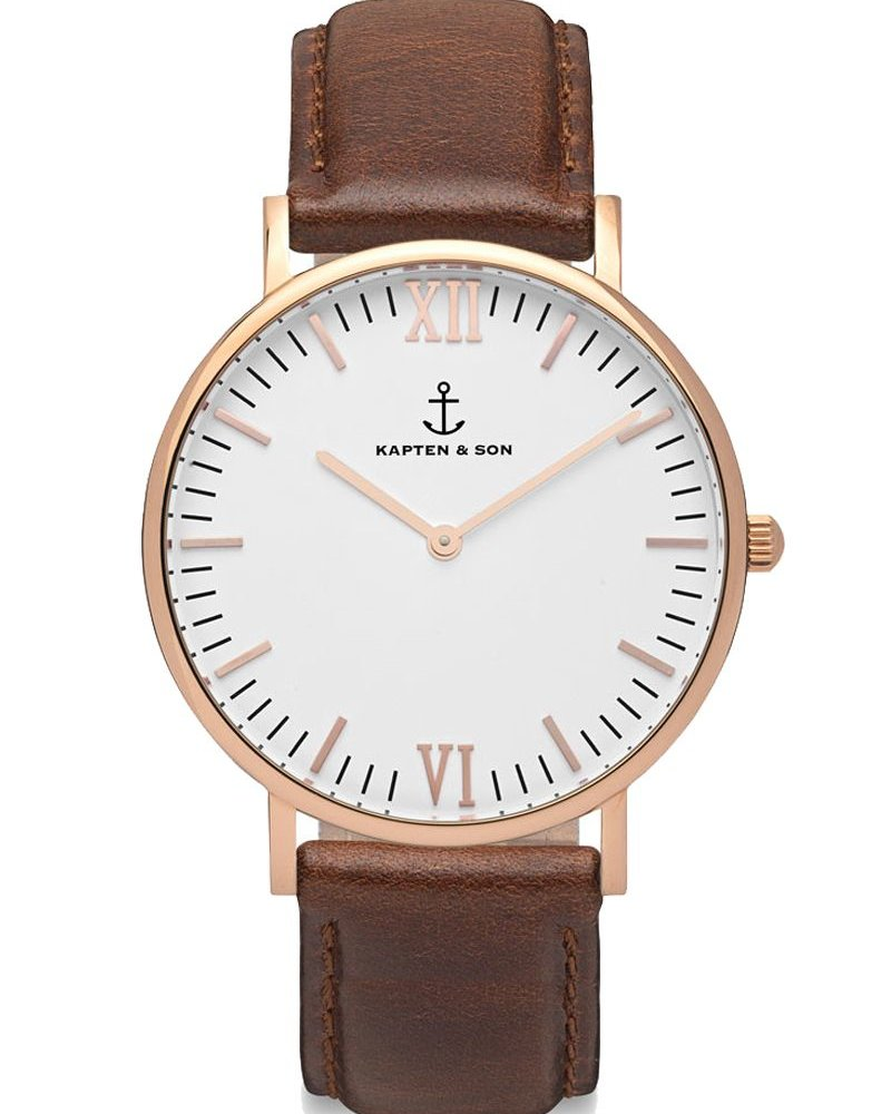 KAPTEN & SON / Campina Leather Brown White Dial
