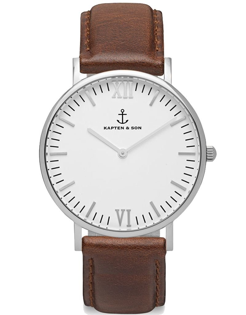 KAPTEN & SON KAPTEN & SON / Campina Leather Brown White Dial