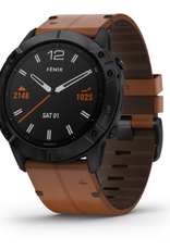 fēnix® 6X Sapphire - Black DLC with Chestnut Leather Band