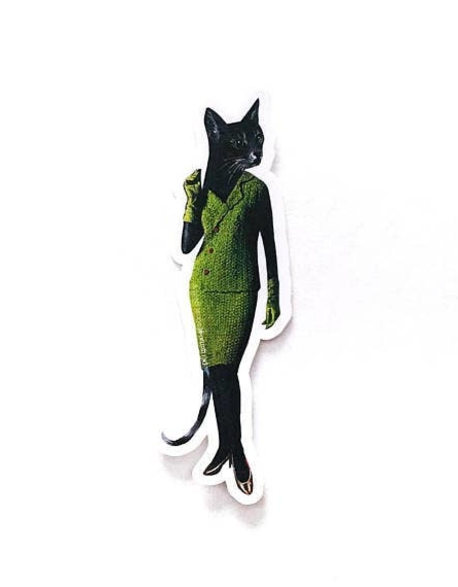 Cat Lady Green Dress Sticker