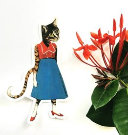 Cat Lady Blue Skirt Sticker