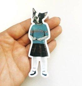 Boston Terrier Girl Sticker