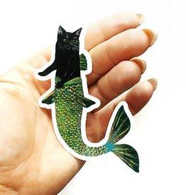 Black Cat Mermaid Sticker