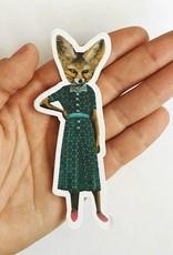 Fox Retro Dress Sticker