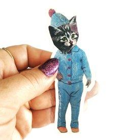 Cat with Pom Hat Sticker