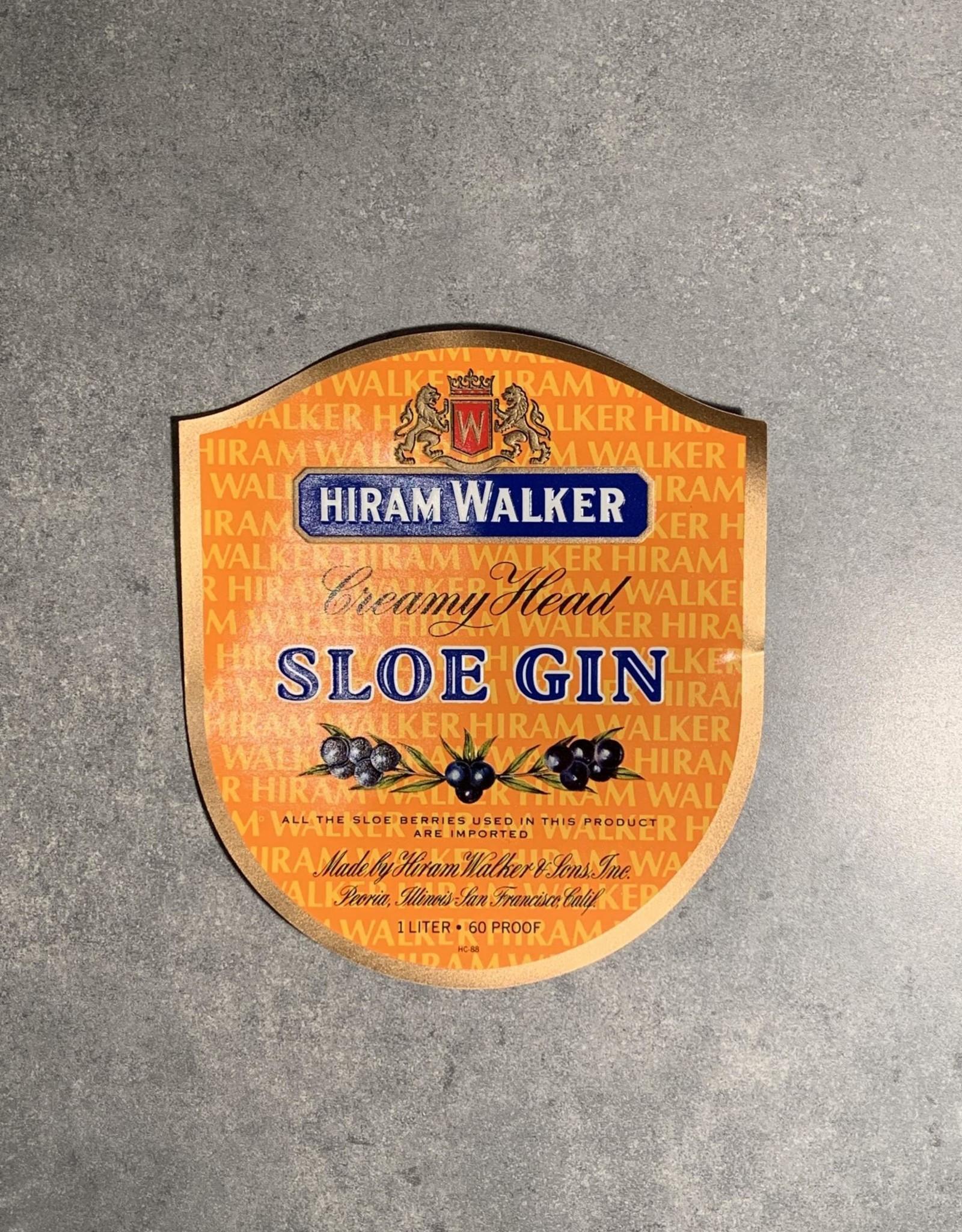UA Merch Hiram Walker & Sons Peoria Il. Sloe Gin Label