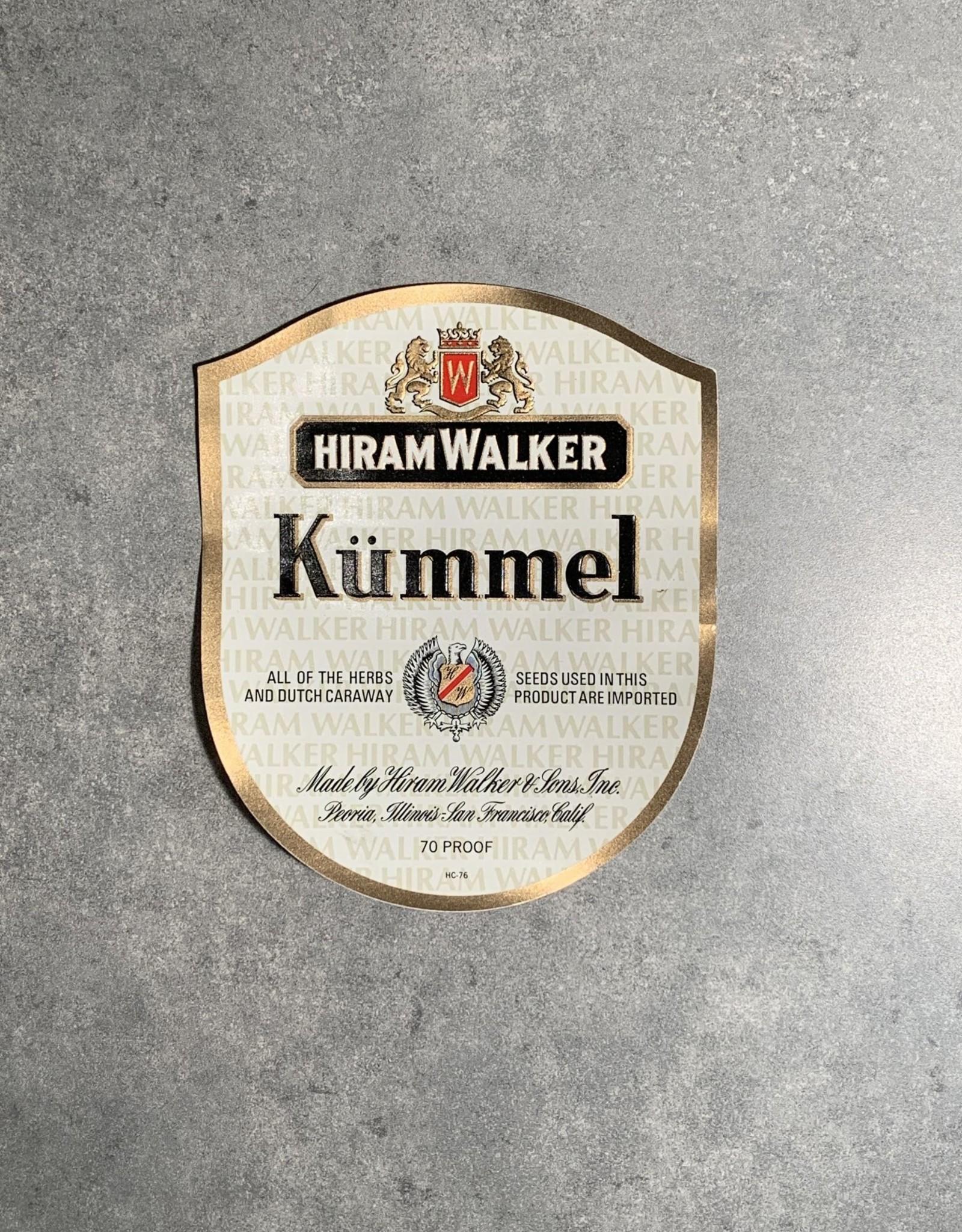 UA Merch Hiram Walker & Sons Peoria Il. Kummel Label