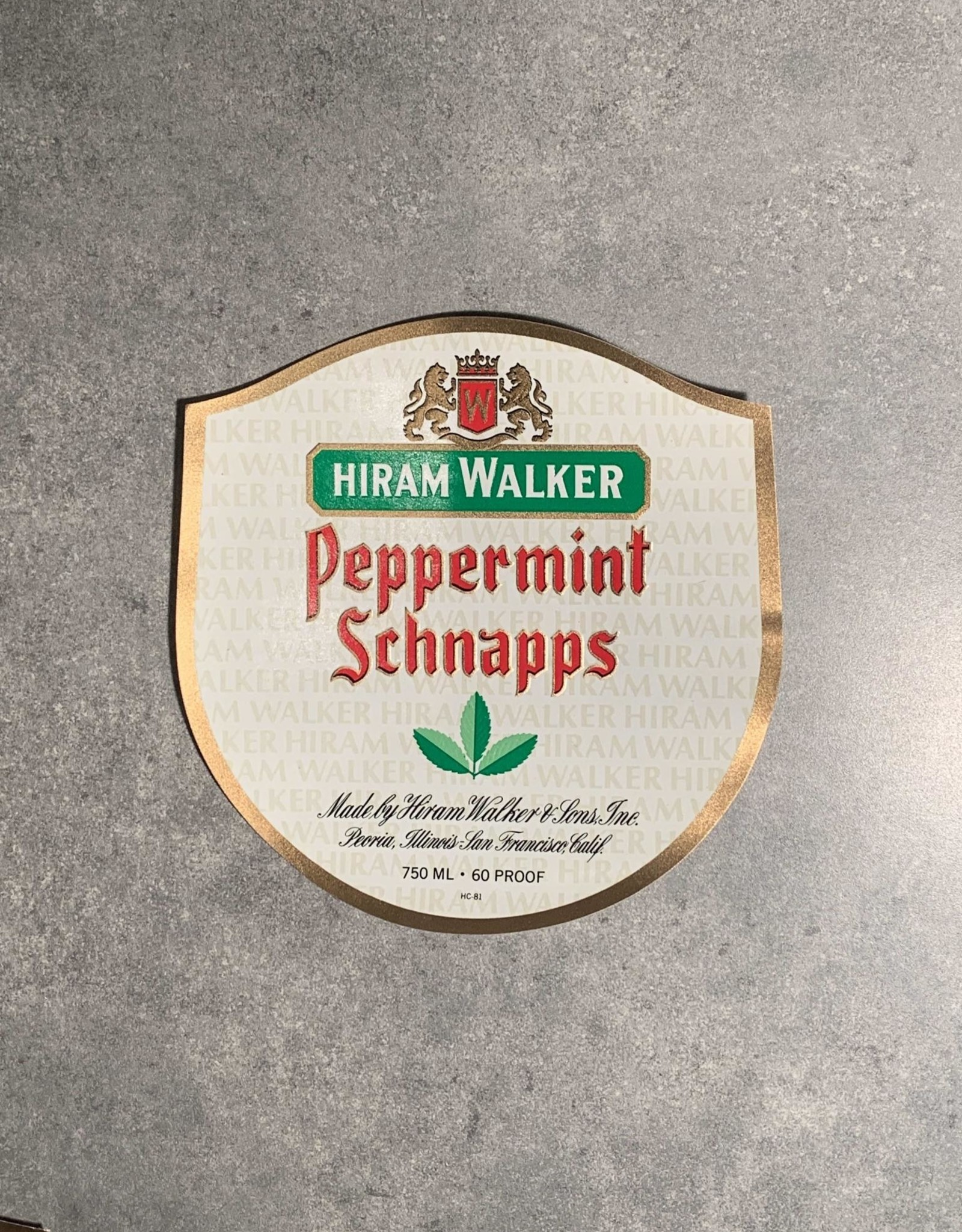 UA Merch Hiram Walker & Sons Peoria Il. Peppermint Schnapps Label