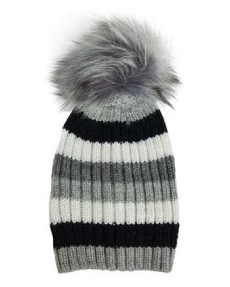 HAT ATTACK TELLURIDE STRIPE POM POM HAT