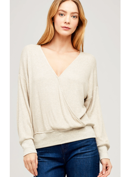 L'AGENCE AMBER LONG SLEEVE WRAP TOP