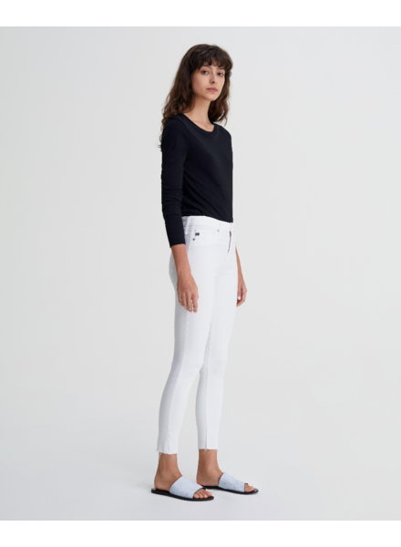 ADIANO GOLDSCHMIED AG FARRAH SKINNY ANKLE IN WHITE WITH RAW HEM