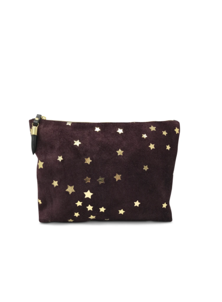 KEMPTON OXBLOOD SUEDE AND GOLD STAR MEDIUM POUCH