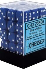 Chessex CHX25806 Dice-Opaque: 36D6 Set Blue/White