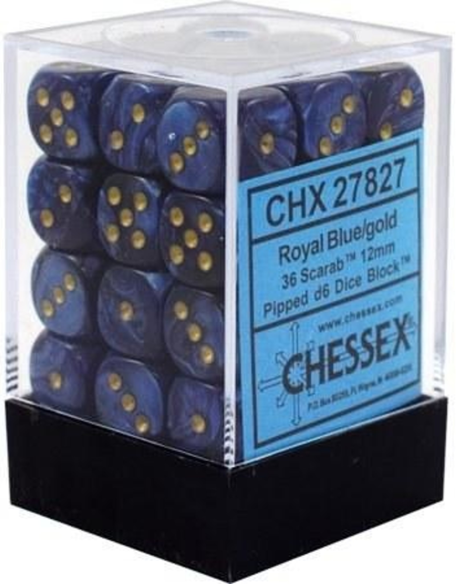 CHX 27827 (36) SCARAB 12MM D6 - ROYAL BLUE/GOLD