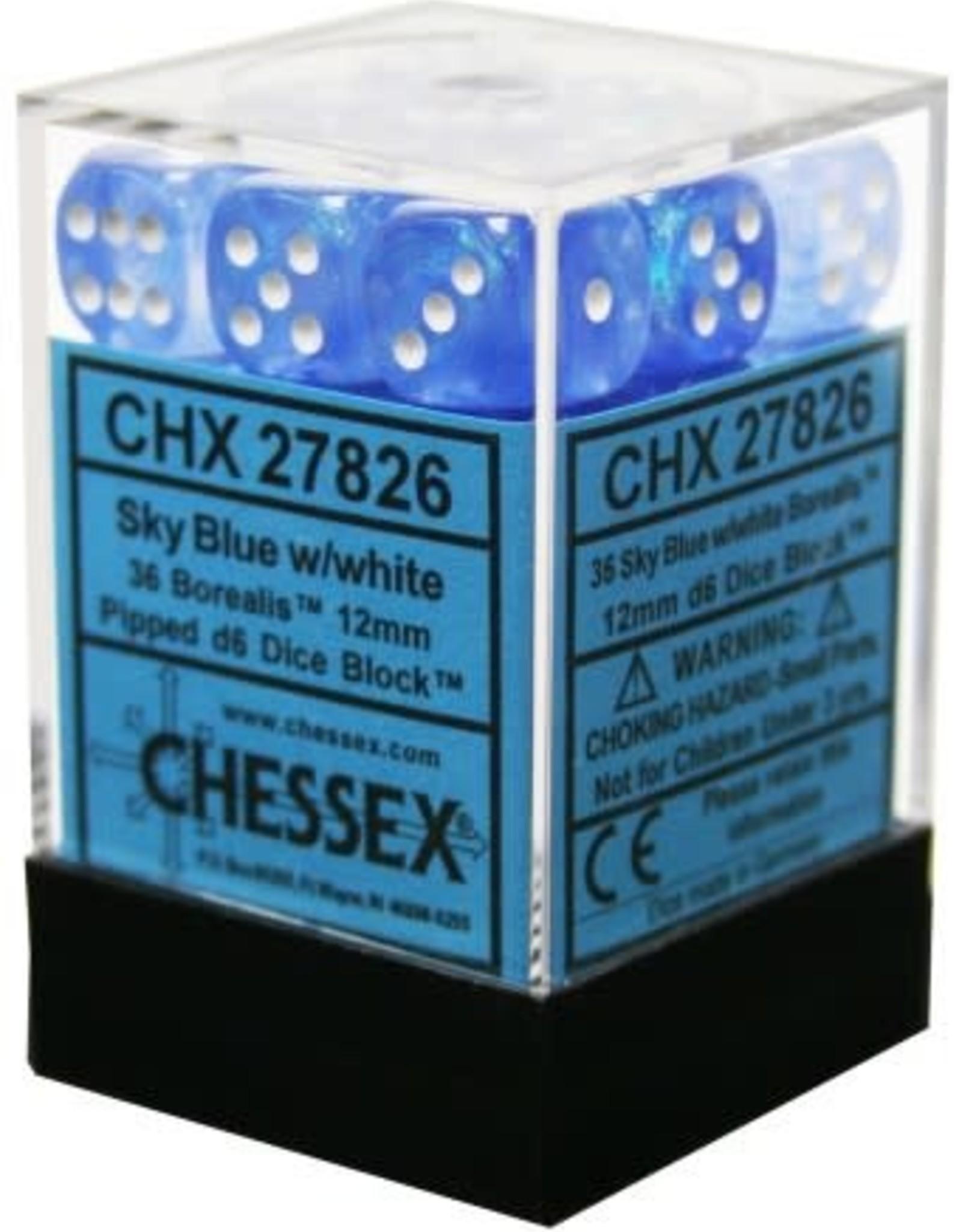 CHX 27826 Borealis 12mm D6 Sky Blue w/ White