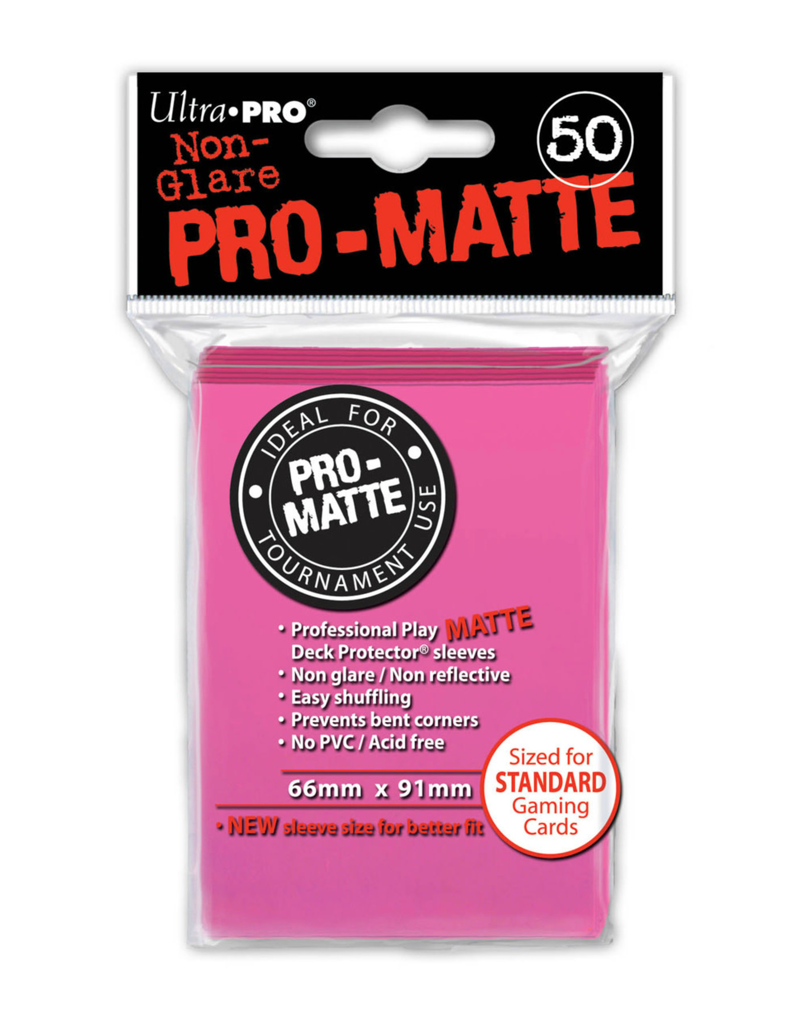 Pro Matte Deck Protector Sleeves 50ct Pink