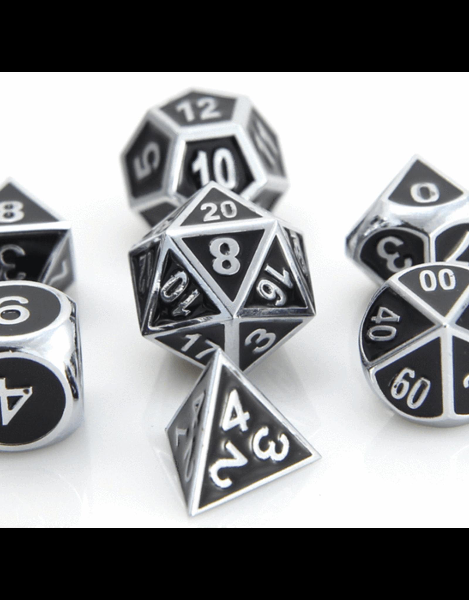 Die Hard Dice Die Hard Metal RPG Gothica Set - Shiny Silver w/Black