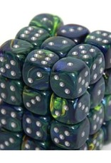 CHX 27845 Festive Green with Silver (Blue-Green) - 12mm Six Sided Die (36) Block of Dice