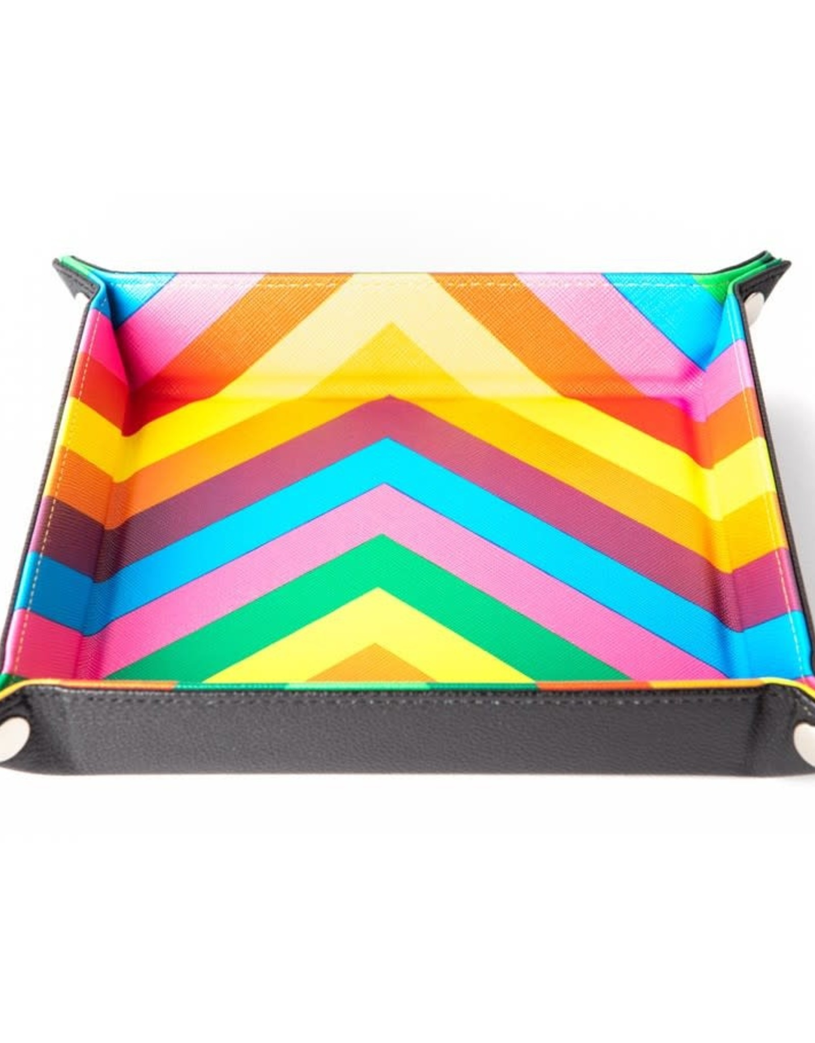 Velvet Fold Dice Tray with Rainbow Leather