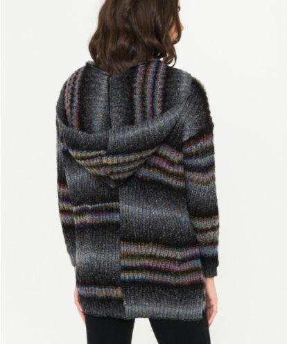 Multi Stripe Hooded Cardigan
