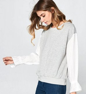 Grey french terry top