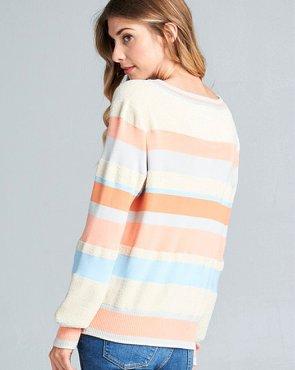 cream stripe fuzzy sweater
