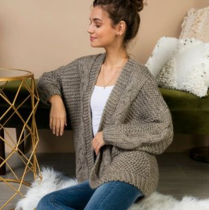 Grey Oversized Knit Cardi
