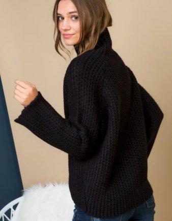 Black Turtle Neck Mesh Sweater