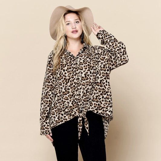 Leopard print button down