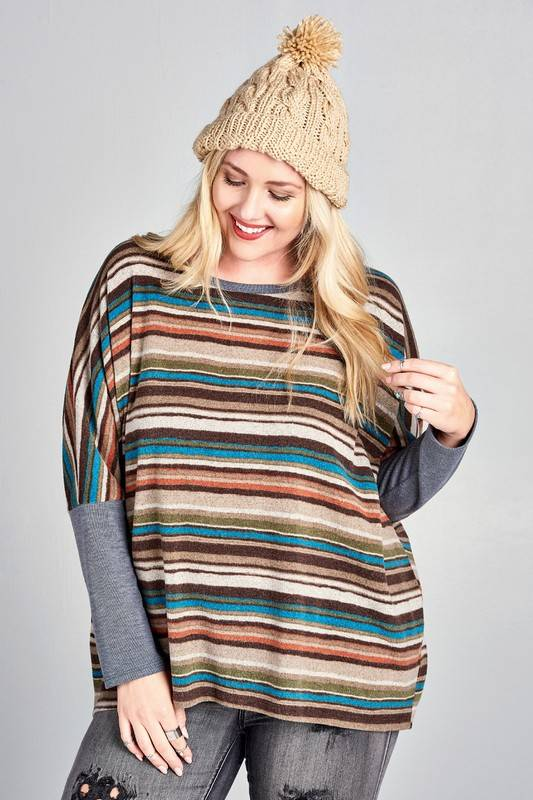 Oversized striped knit top