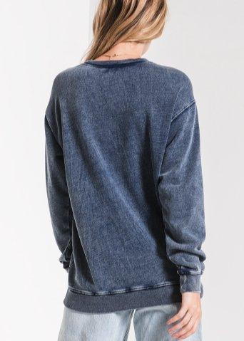 Knit denim pullover indigo