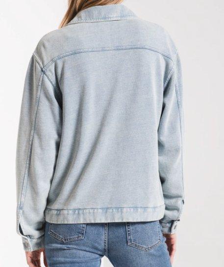 knit denim jacket dusty blue