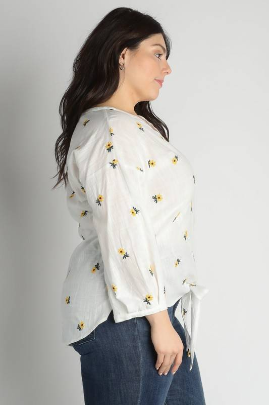 White Floral Embroidered