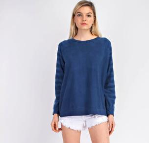 Denim Blue Tye Dye Sleeve Topo