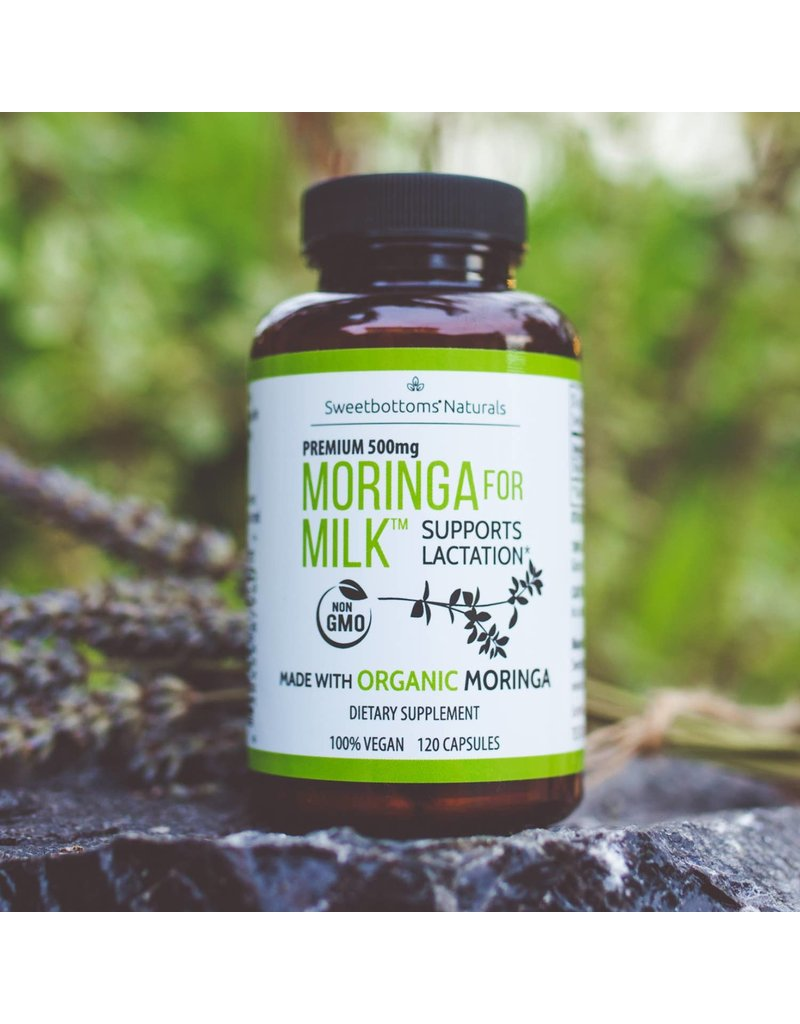 Sweetbottoms Naturals Organic Moringa for Milk Lactation Supplement - 120 Capsules