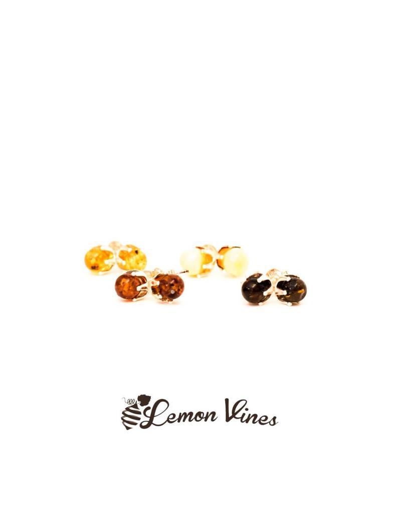 Lemon Vines Baltic Amber Stud Earrings