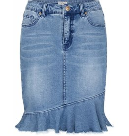 Tribal Tribal Jean Skirt with Frayed Frilled Hem