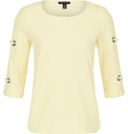 Tribal Tribal 3/4 Sleeve Top with Big Eyelets