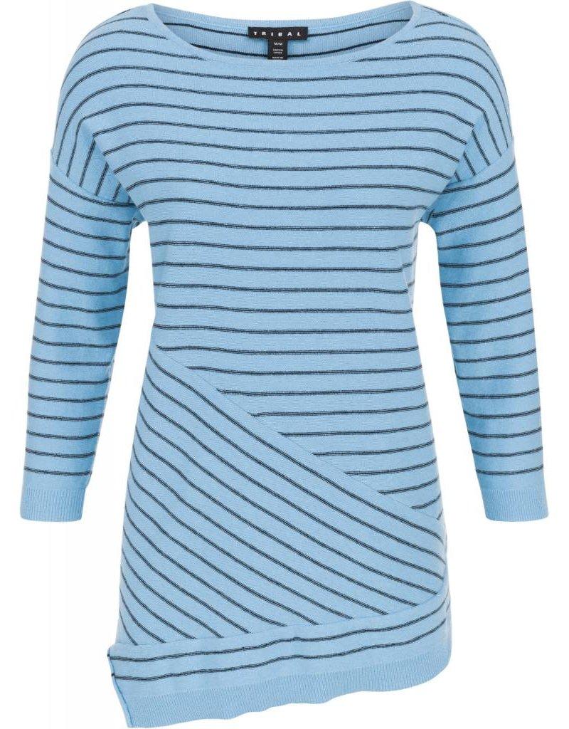 Tribal Tribal 3/4 Sleeve Asymmetric Sweater