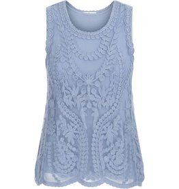 Tribal Tribal Sleeveless Embroidered Mesh Top